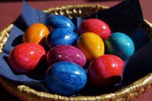 easter eggs in one basket